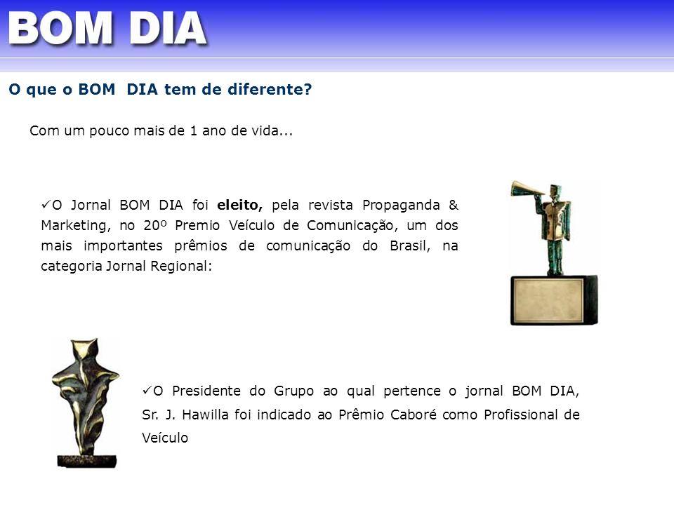 O Jornal BOM DIA foi eleito, pela revista Propaganda & Marketing, no 20º Premio Veículo de Comunicação, um dos mais importantes prêmios de comunicação
