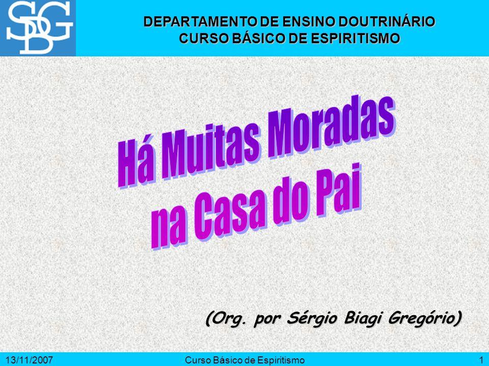 13/11/2007Curso Básico de Espiritismo1 (Org. por Sérgio Biagi Gregório) DEPARTAMENTO DE ENSINO DOUTRINÁRIO CURSO BÁSICO DE ESPIRITISMO