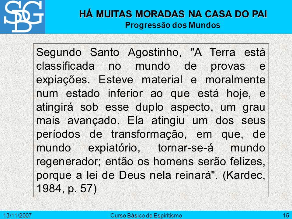 13/11/2007Curso Básico de Espiritismo15 HÁ MUITAS MORADAS NA CASA DO PAI Progressão dos Mundos Segundo Santo Agostinho,