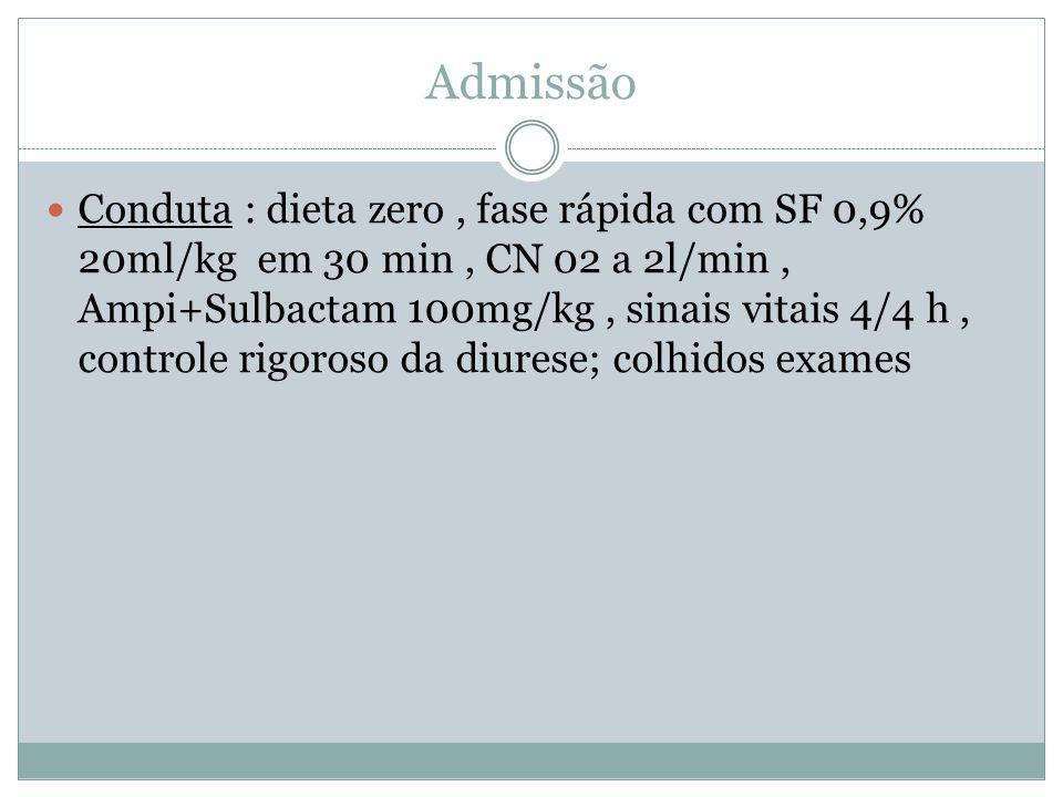 Admissão Conduta : dieta zero, fase rápida com SF 0,9% 20ml/kg em 30 min, CN 02 a 2l/min, Ampi+Sulbactam 100mg/kg, sinais vitais 4/4 h, controle rigoroso da diurese; colhidos exames