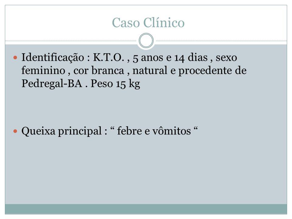 Caso Clínico Identificação : K.T.O., 5 anos e 14 dias, sexo feminino, cor branca, natural e procedente de Pedregal-BA.