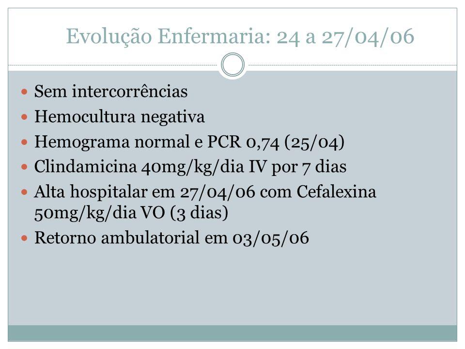 Evolução Enfermaria: 24 a 27/04/06 Sem intercorrências Hemocultura negativa Hemograma normal e PCR 0,74 (25/04) Clindamicina 40mg/kg/dia IV por 7 dias Alta hospitalar em 27/04/06 com Cefalexina 50mg/kg/dia VO (3 dias) Retorno ambulatorial em 03/05/06
