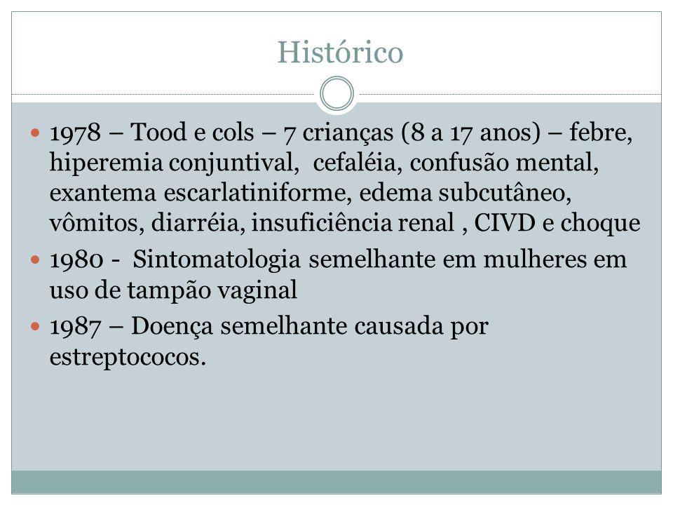 Histórico 1978 – Tood e cols – 7 crianças (8 a 17 anos) – febre, hiperemia conjuntival, cefaléia, confusão mental, exantema escarlatiniforme, edema subcutâneo, vômitos, diarréia, insuficiência renal, CIVD e choque 1980 - Sintomatologia semelhante em mulheres em uso de tampão vaginal 1987 – Doença semelhante causada por estreptococos.