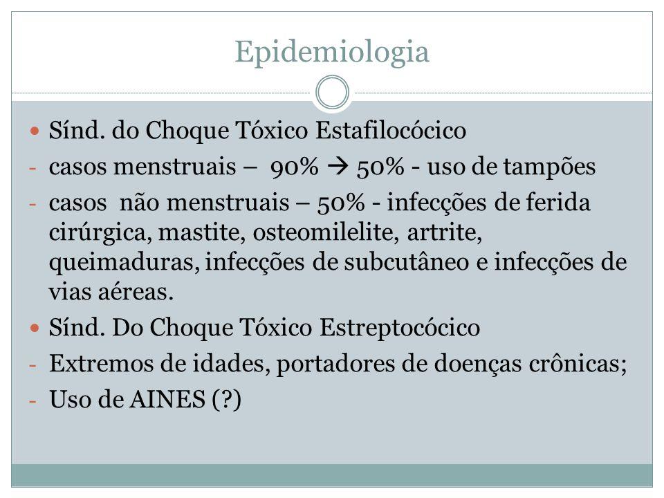 Epidemiologia Sínd. do Choque Tóxico Estafilocócico - casos menstruais – 90% 50% - uso de tampões - casos não menstruais – 50% - infecções de ferida c
