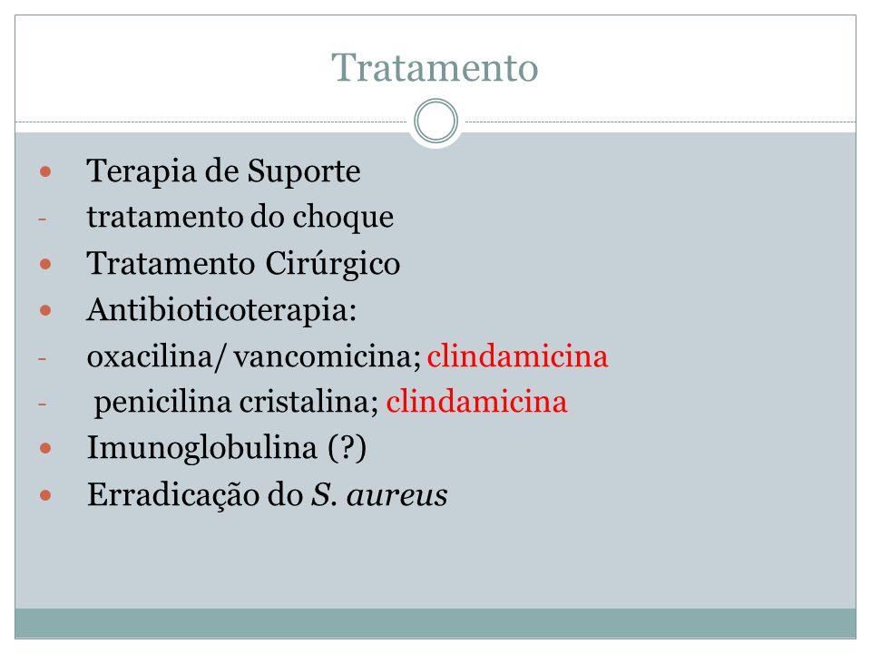 Tratamento Terapia de Suporte - tratamento do choque Tratamento Cirúrgico Antibioticoterapia: - oxacilina/ vancomicina; clindamicina - penicilina cris