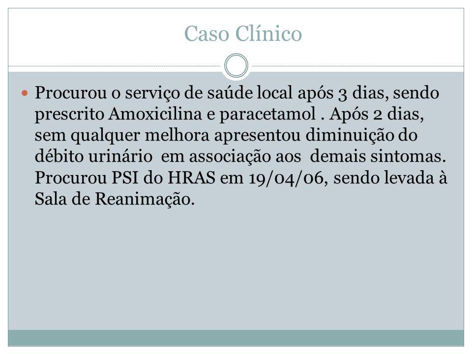 Caso Clínico Procurou o serviço de saúde local após 3 dias, sendo prescrito Amoxicilina e paracetamol.