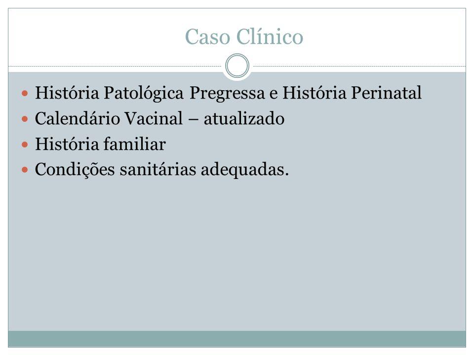 Caso Clínico História Patológica Pregressa e História Perinatal Calendário Vacinal – atualizado História familiar Condições sanitárias adequadas.