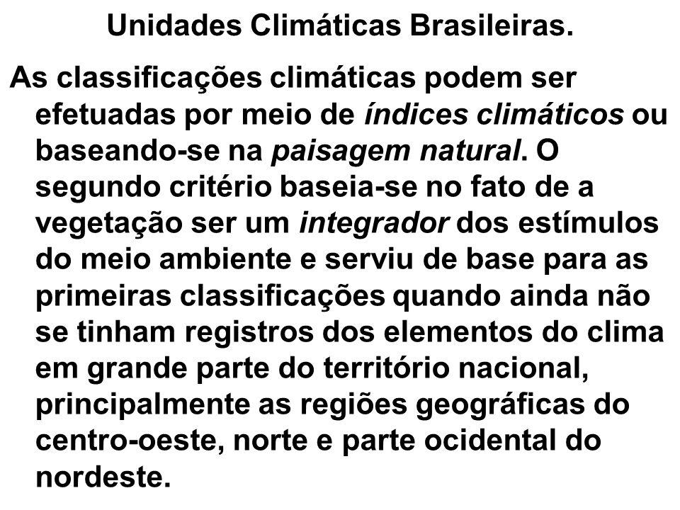 Unidades Climáticas Brasileiras. As classificações climáticas podem ser efetuadas por meio de índices climáticos ou baseando-se na paisagem natural. O