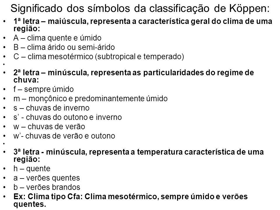 Significado dos símbolos da classificação de Köppen: 1ª letra – maiúscula, representa a característica geral do clima de uma região: A – clima quente