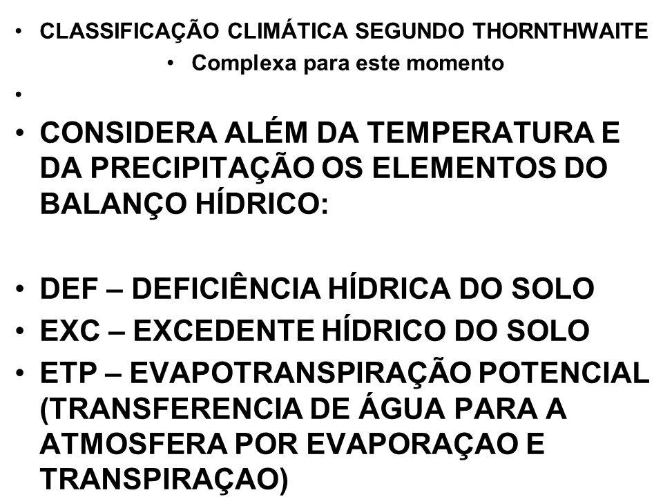 CLASSIFICAÇÃO CLIMÁTICA SEGUNDO THORNTHWAITE Complexa para este momento CONSIDERA ALÉM DA TEMPERATURA E DA PRECIPITAÇÃO OS ELEMENTOS DO BALANÇO HÍDRIC