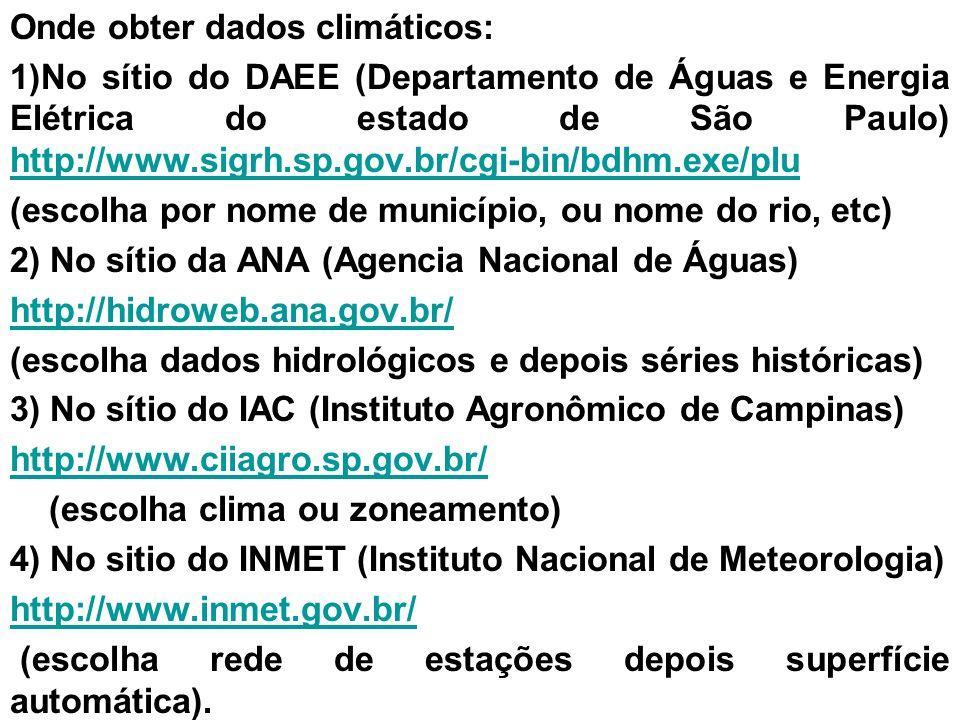 Onde obter dados climáticos: 1)No sítio do DAEE (Departamento de Águas e Energia Elétrica do estado de São Paulo) http://www.sigrh.sp.gov.br/cgi-bin/b