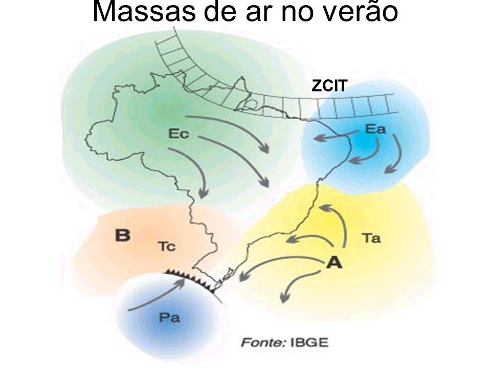 As massas de ar que interferem mais diretamente na distribuição do clima brasileiro são a equatorial continental (mEc), equatorial atlântica (mEa), a tropical continental (mTc), tropical atlântica (mTa) e a polar atlântica (mPa).