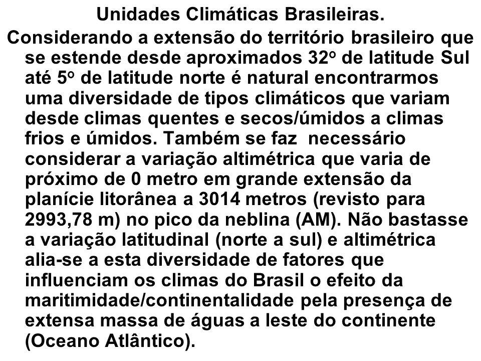 Unidades Climáticas Brasileiras. Considerando a extensão do território brasileiro que se estende desde aproximados 32 o de latitude Sul até 5 o de lat