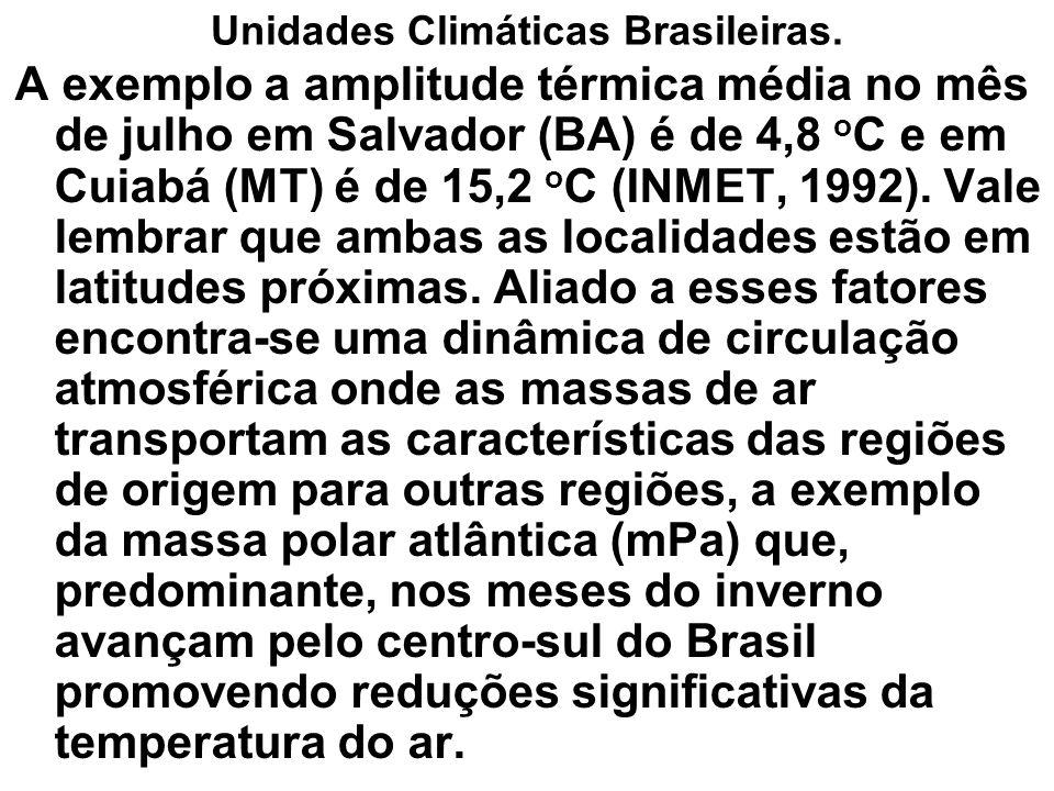 Unidades Climáticas Brasileiras. A exemplo a amplitude térmica média no mês de julho em Salvador (BA) é de 4,8 o C e em Cuiabá (MT) é de 15,2 o C (INM