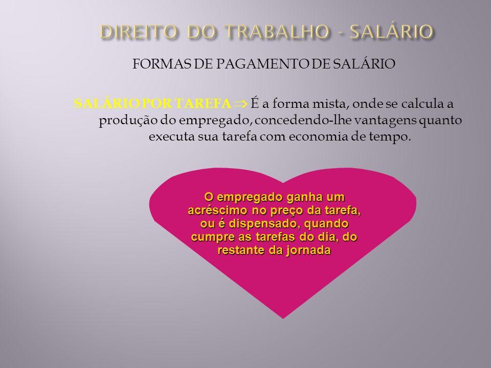 FORMAS DE PAGAMENTO DE SALÁRIO SALÁRIO POR TAREFA É a forma mista, onde se calcula a produção do empregado, concedendo-lhe vantagens quanto executa su