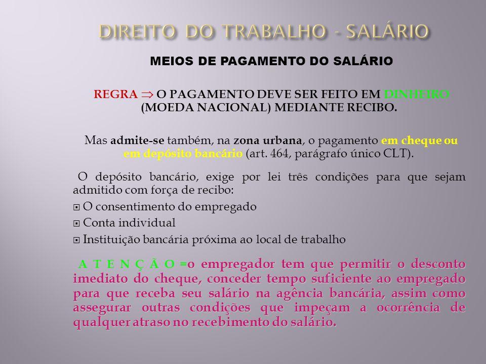 MEIOS DE PAGAMENTO DO SALÁRIO REGRA O PAGAMENTO DEVE SER FEITO EM DINHEIRO (MOEDA NACIONAL) MEDIANTE RECIBO. Mas admite-se também, na zona urbana, o p