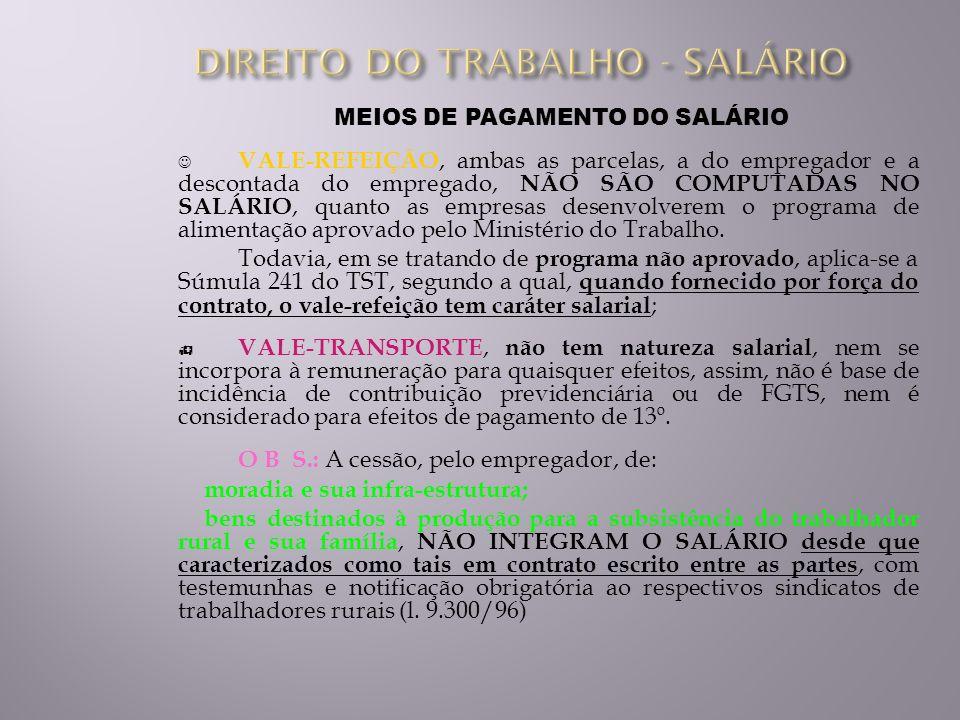 MEIOS DE PAGAMENTO DO SALÁRIO VALE-REFEIÇÃO, ambas as parcelas, a do empregador e a descontada do empregado, NÃO SÃO COMPUTADAS NO SALÁRIO, quanto as