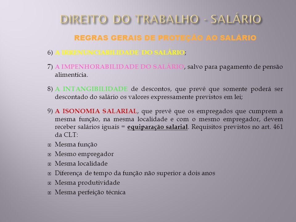REGRAS GERAIS DE PROTEÇÃO AO SALÁRIO 6) A IRRENUNCIABILIDADE DO SALÁRIO ; 7) A IMPENHORABILIDADE DO SALÁRIO, salvo para pagamento de pensão alimentíci