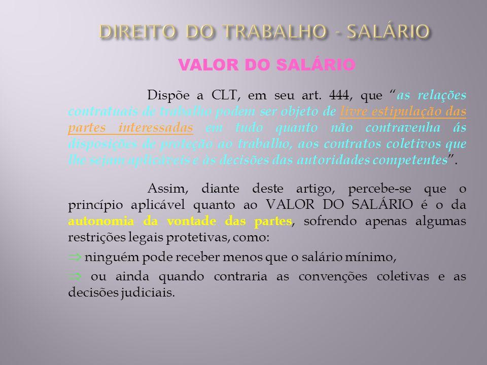 VALOR DO SALÁRIO Dispõe a CLT, em seu art. 444, que as relações contratuais de trabalho podem ser objeto de livre estipulação das partes interessadas