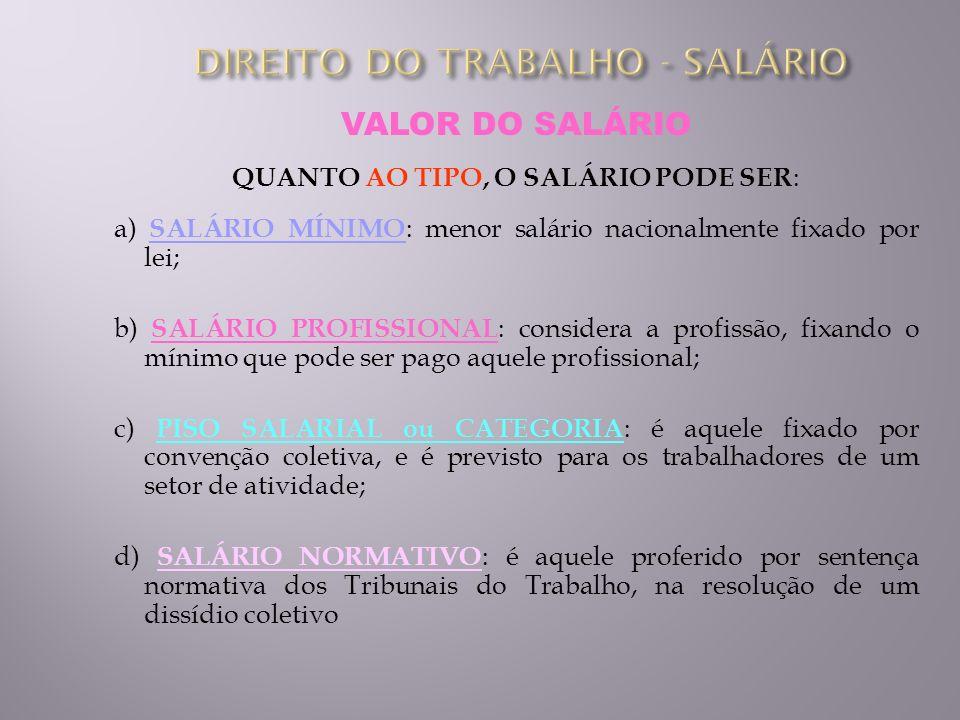VALOR DO SALÁRIO QUANTO AO TIPO, O SALÁRIO PODE SER : a) SALÁRIO MÍNIMO : menor salário nacionalmente fixado por lei; b) SALÁRIO PROFISSIONAL : consid