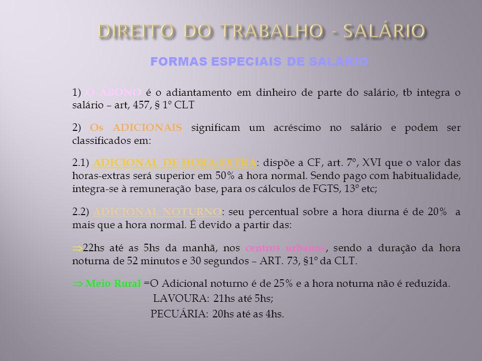 FORMAS ESPECIAIS DE SALÁRIO 1) O ABONO é o adiantamento em dinheiro de parte do salário, tb integra o salário – art, 457, § 1º CLT 2) Os ADICIONAIS si