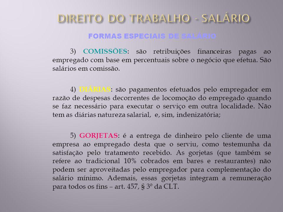 FORMAS ESPECIAIS DE SALÁRIO 3) COMISSÕES : são retribuições financeiras pagas ao empregado com base em percentuais sobre o negócio que efetua. São sal