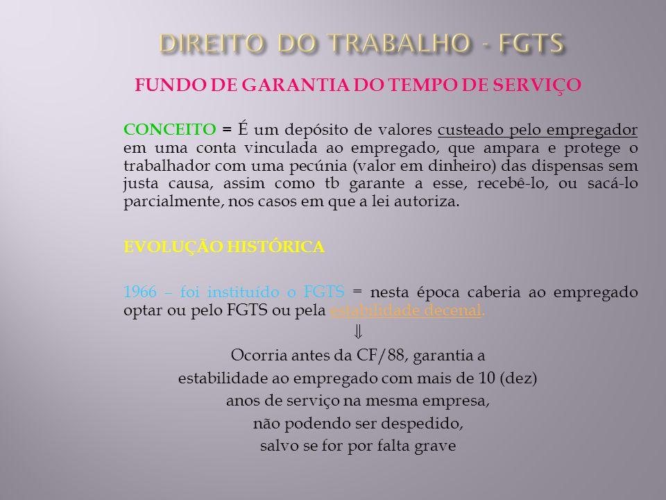 FUNDO DE GARANTIA DO TEMPO DE SERVIÇO CONCEITO = É um depósito de valores custeado pelo empregador em uma conta vinculada ao empregado, que ampara e p