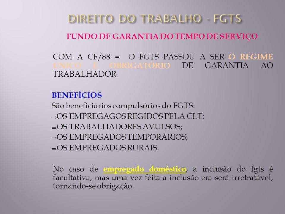 FUNDO DE GARANTIA DO TEMPO DE SERVIÇO COM A CF/88 = O FGTS PASSOU A SER O REGIME ÚNICO E OBRIGATÓRIO DE GARANTIA AO TRABALHADOR. BENEFÍCIOS São benefi