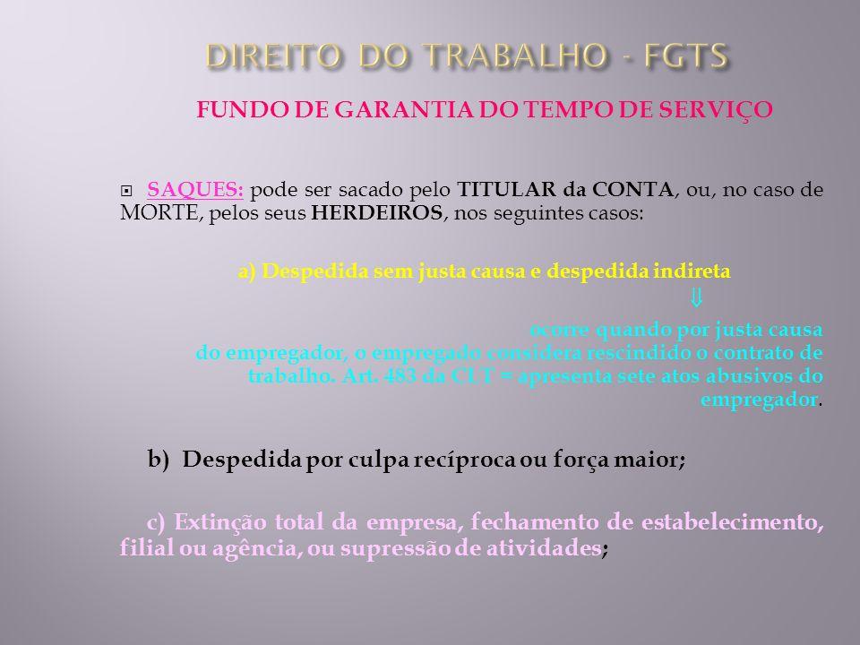 FUNDO DE GARANTIA DO TEMPO DE SERVIÇO SAQUES: pode ser sacado pelo TITULAR da CONTA, ou, no caso de MORTE, pelos seus HERDEIROS, nos seguintes casos: