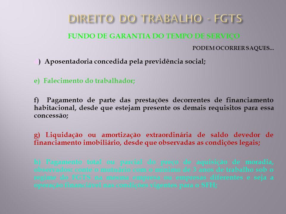 FUNDO DE GARANTIA DO TEMPO DE SERVIÇO PODEM OCORRER SAQUES... d) Aposentadoria concedida pela previdência social; e) Falecimento do trabalhador; f) Pa