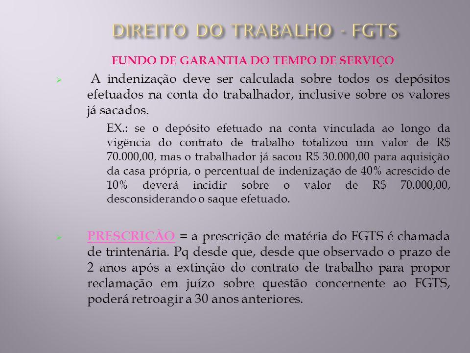 FUNDO DE GARANTIA DO TEMPO DE SERVIÇO A indenização deve ser calculada sobre todos os depósitos efetuados na conta do trabalhador, inclusive sobre os