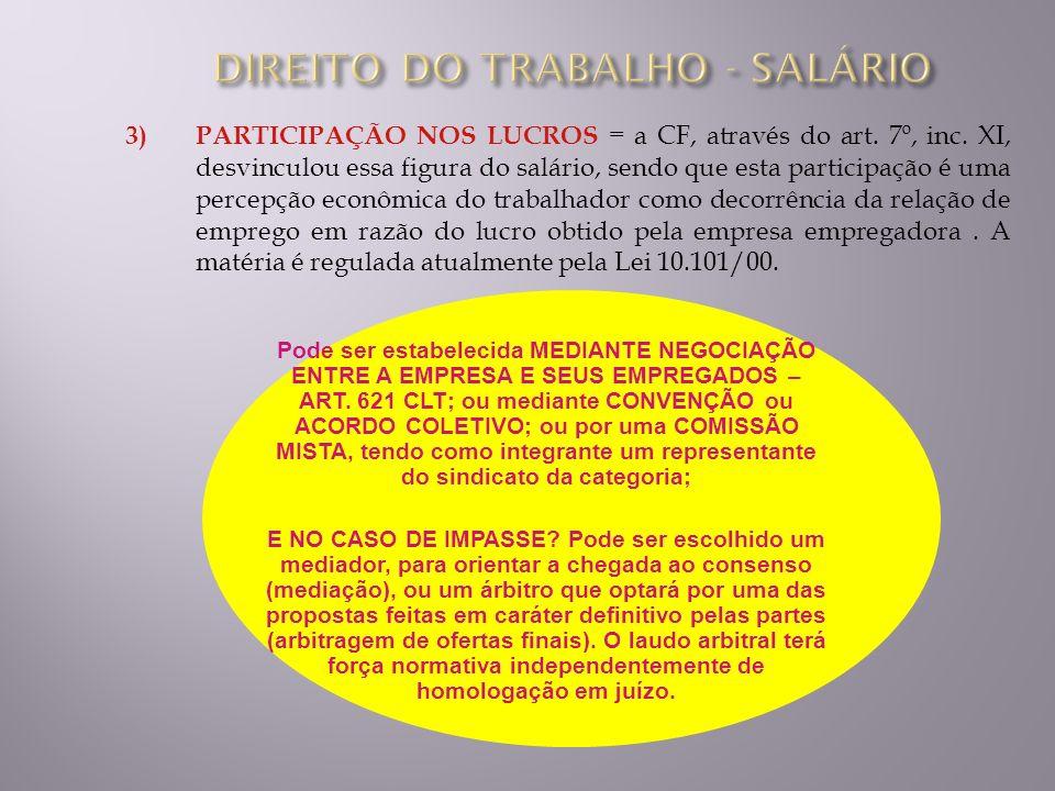 VALOR DO SALÁRIO QUANTO AO TIPO, O SALÁRIO PODE SER : a) SALÁRIO MÍNIMO : menor salário nacionalmente fixado por lei; b) SALÁRIO PROFISSIONAL : considera a profissão, fixando o mínimo que pode ser pago aquele profissional; c) PISO SALARIAL ou CATEGORIA : é aquele fixado por convenção coletiva, e é previsto para os trabalhadores de um setor de atividade; d) SALÁRIO NORMATIVO : é aquele proferido por sentença normativa dos Tribunais do Trabalho, na resolução de um dissídio coletivo