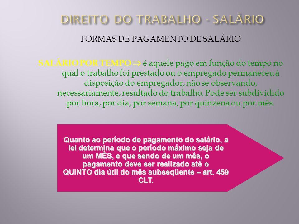 FORMAS DE PAGAMENTO DE SALÁRIO SALÁRIO POR TEMPO é aquele pago em função do tempo no qual o trabalho foi prestado ou o empregado permaneceu à disposiç