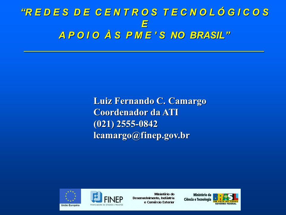 R E D E S D E C E N T R O S T E C N O L Ó G I C O S E A P O I O À S P M E S NO BRASIL _____________________________________________ Luiz Fernando C.