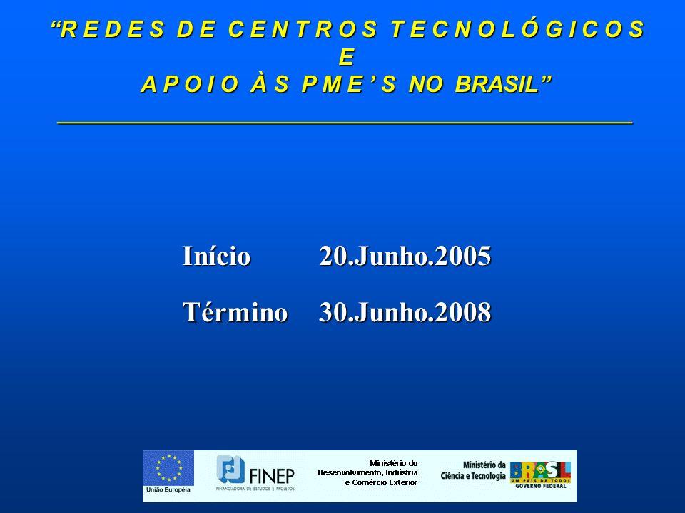 R E D E S D E C E N T R O S T E C N O L Ó G I C O S E A P O I O À S P M E S NO BRASIL _____________________________________________ Início20.Junho.2005 Término30.Junho.2008