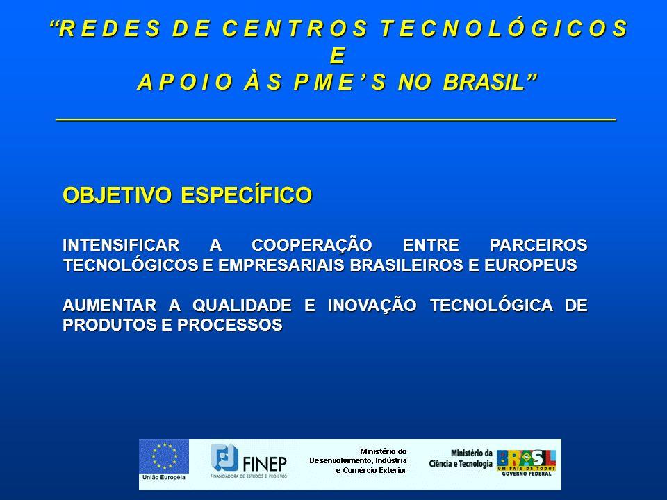 R E D E S D E C E N T R O S T E C N O L Ó G I C O S E A P O I O À S P M E S NO BRASIL _____________________________________________ OBJETIVO ESPECÍFICO INTENSIFICAR A COOPERAÇÃO ENTRE PARCEIROS TECNOLÓGICOS E EMPRESARIAIS BRASILEIROS E EUROPEUS AUMENTAR A QUALIDADE E INOVAÇÃO TECNOLÓGICA DE PRODUTOS E PROCESSOS