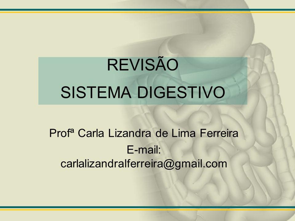REVISÃO SISTEMA DIGESTIVO Profª Carla Lizandra de Lima Ferreira E-mail: carlalizandralferreira@gmail.com