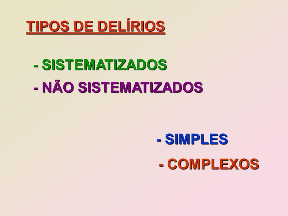 TIPOS DE DELÍRIOS - SISTEMATIZADOS - NÃO SISTEMATIZADOS - SIMPLES - COMPLEXOS