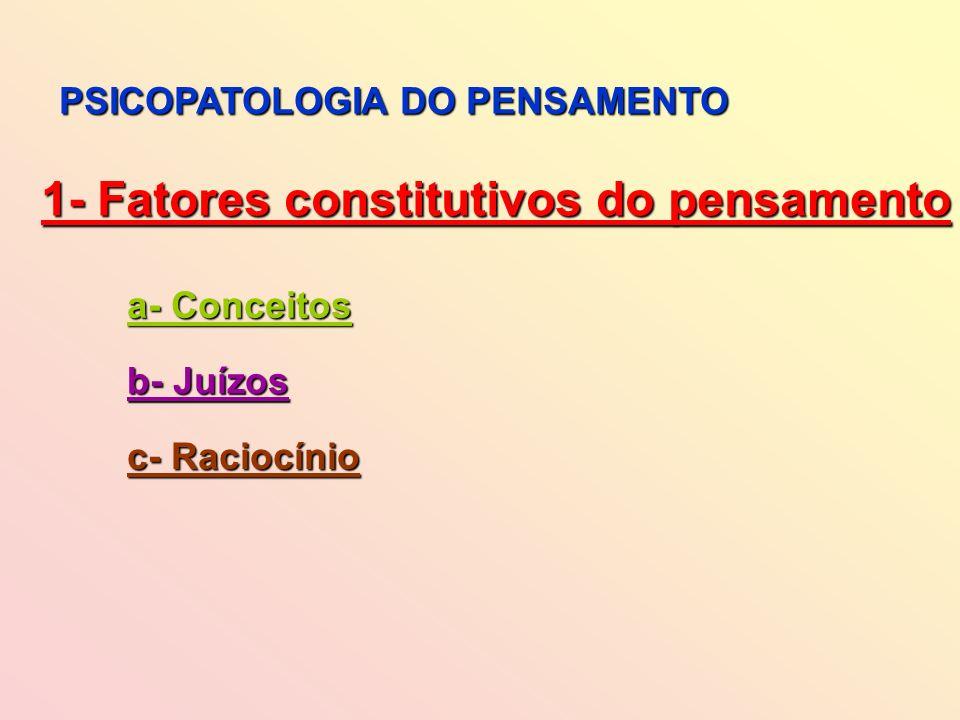 PSICOPATOLOGIA DO PENSAMENTO 1- Fatores constitutivos do pensamento a- Conceitos b- Juízos c- Raciocínio