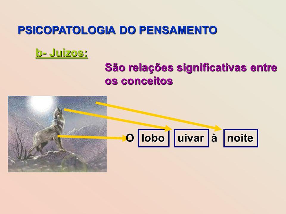 PSICOPATOLOGIA DO PENSAMENTO b- Juizos: São relações significativas entre os conceitos lobouivarnoite uivanoiteloboOà
