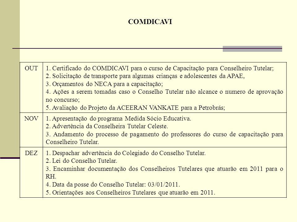 COMDICAVI OUT1. Certificado do COMDICAVI para o curso de Capacitação para Conselheiro Tutelar; 2. Solicitação de transporte para algumas crianças e ad