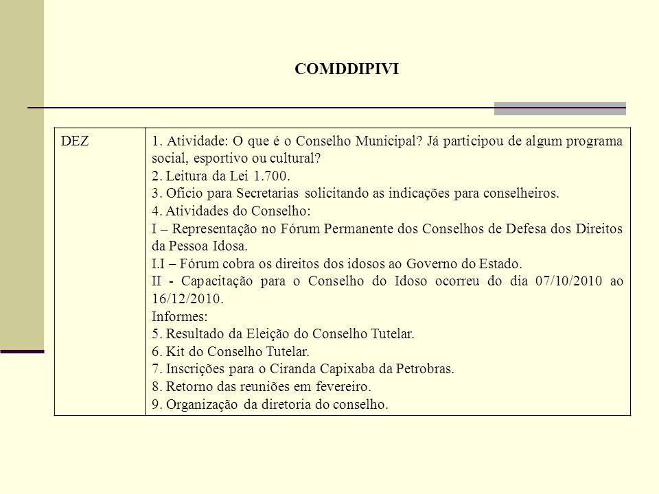 COMDDIPIVI DEZ1. Atividade: O que é o Conselho Municipal? Já participou de algum programa social, esportivo ou cultural? 2. Leitura da Lei 1.700. 3. O