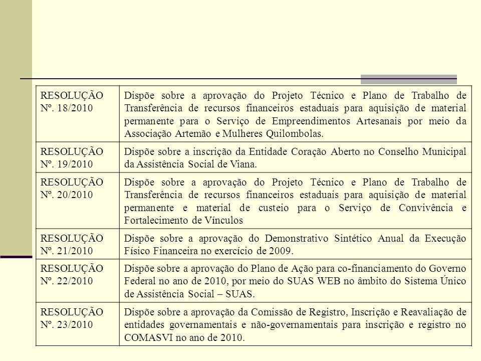 RESOLUÇÃO Nº. 18/2010 Dispõe sobre a aprovação do Projeto Técnico e Plano de Trabalho de Transferência de recursos financeiros estaduais para aquisiçã