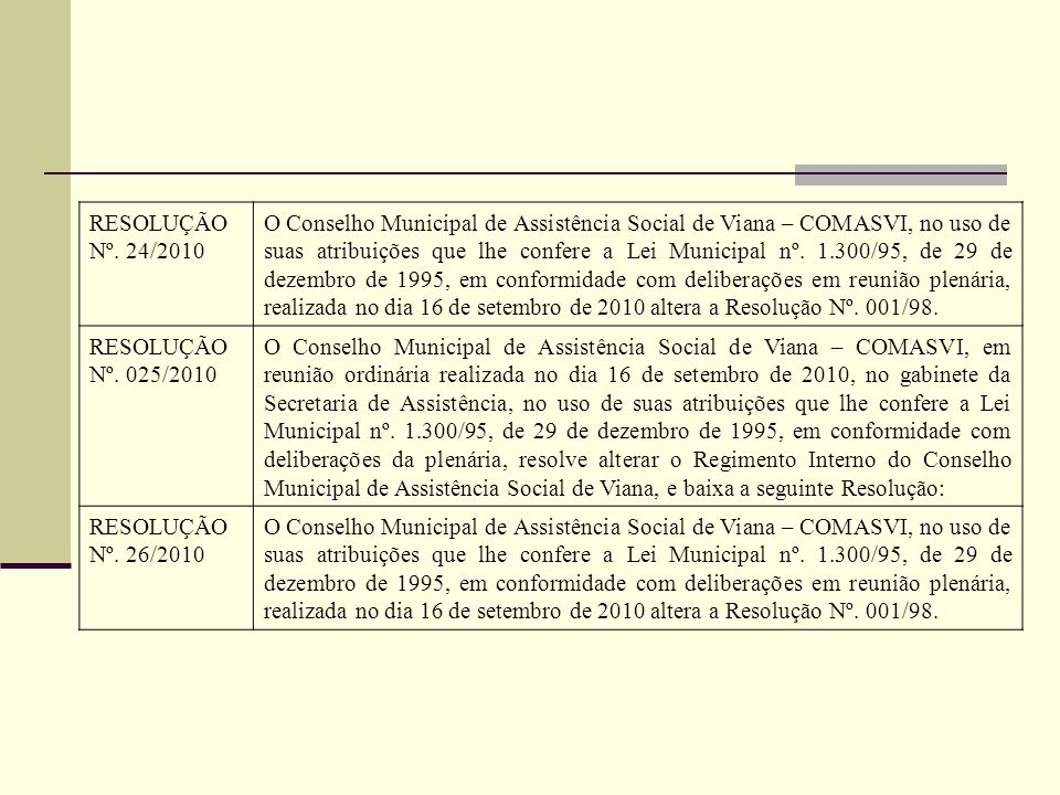 RESOLUÇÃO Nº. 24/2010 O Conselho Municipal de Assistência Social de Viana – COMASVI, no uso de suas atribuições que lhe confere a Lei Municipal nº. 1.