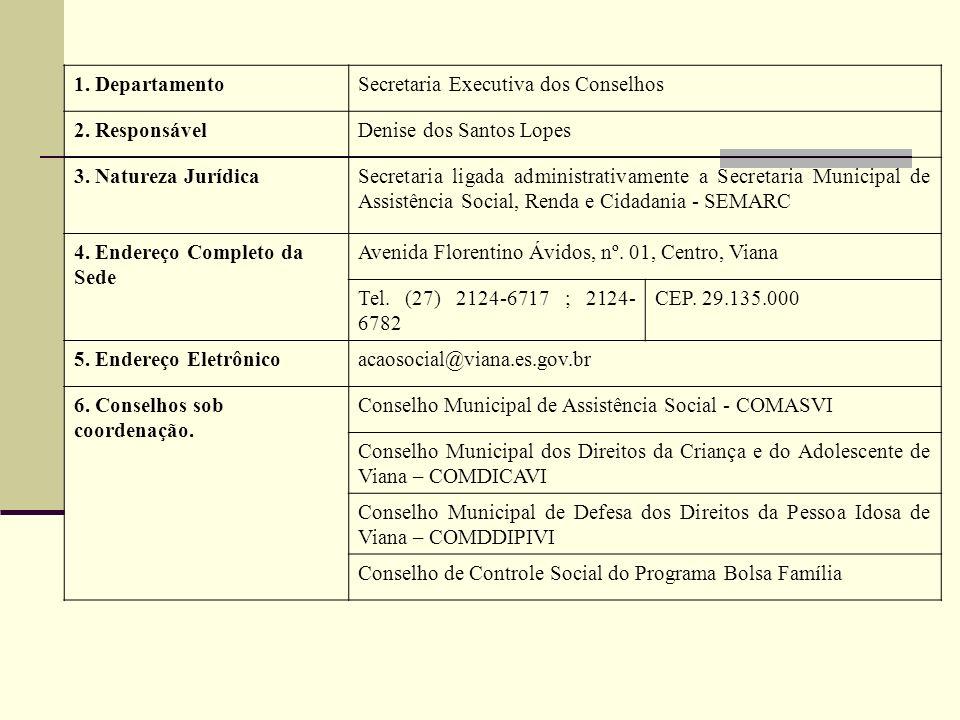 1. DepartamentoSecretaria Executiva dos Conselhos 2. ResponsávelDenise dos Santos Lopes 3. Natureza JurídicaSecretaria ligada administrativamente a Se