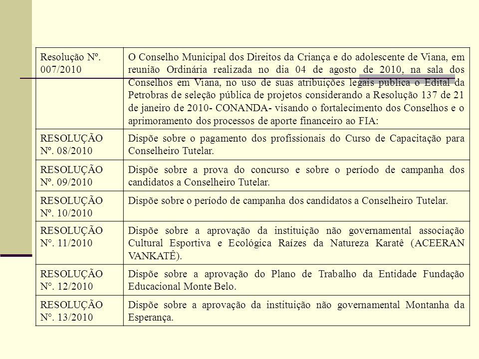 Resolução Nº. 007/2010 O Conselho Municipal dos Direitos da Criança e do adolescente de Viana, em reunião Ordinária realizada no dia 04 de agosto de 2