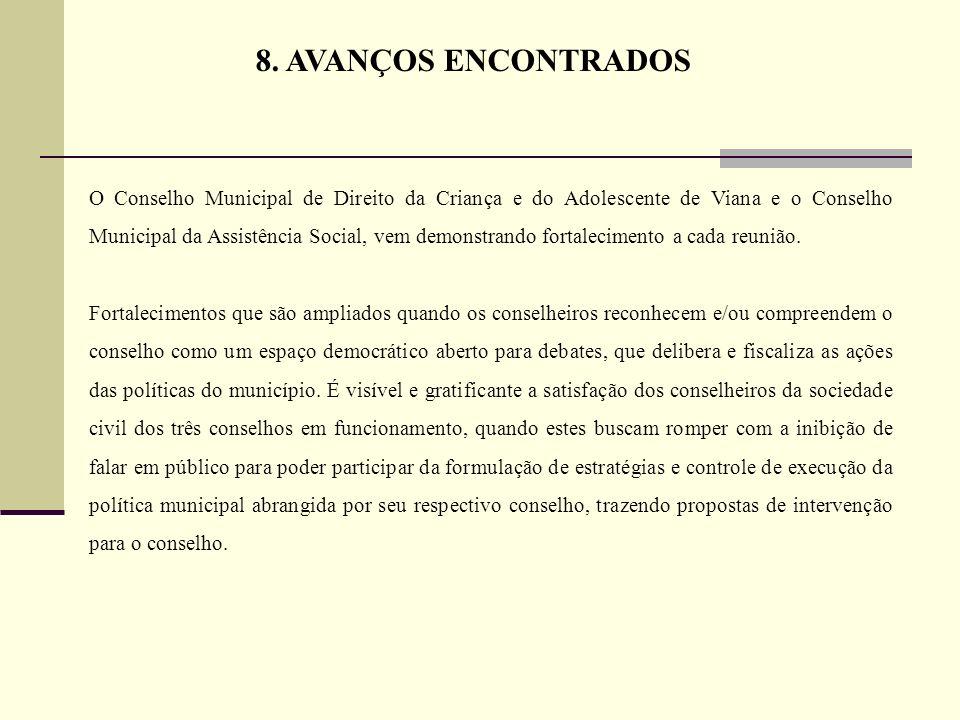 O Conselho Municipal de Direito da Criança e do Adolescente de Viana e o Conselho Municipal da Assistência Social, vem demonstrando fortalecimento a c