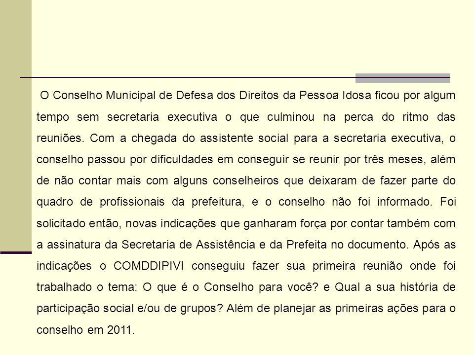 O Conselho Municipal de Defesa dos Direitos da Pessoa Idosa ficou por algum tempo sem secretaria executiva o que culminou na perca do ritmo das reuniõ