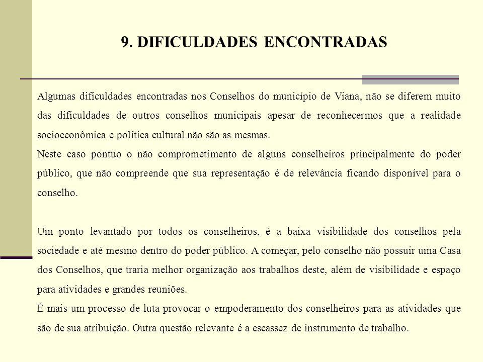 Algumas dificuldades encontradas nos Conselhos do município de Viana, não se diferem muito das dificuldades de outros conselhos municipais apesar de r