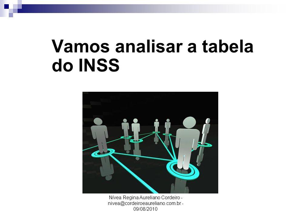 Nívea Regina Aureliano Cordeiro - nivea@cordeiroeaureliano.com.br - 09/08/2010 Vamos analisar a tabela do INSS